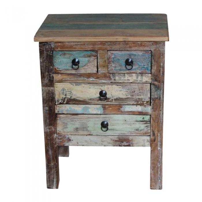 table de chevet ethnique indienne avec du bois recupere. Black Bedroom Furniture Sets. Home Design Ideas