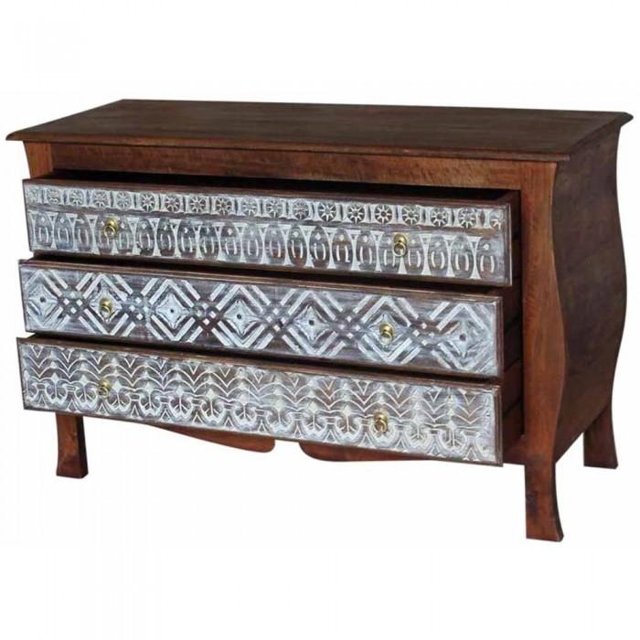 commode sculptee indienne avec 3 tiroirs 120x76x45 etnicart. Black Bedroom Furniture Sets. Home Design Ideas