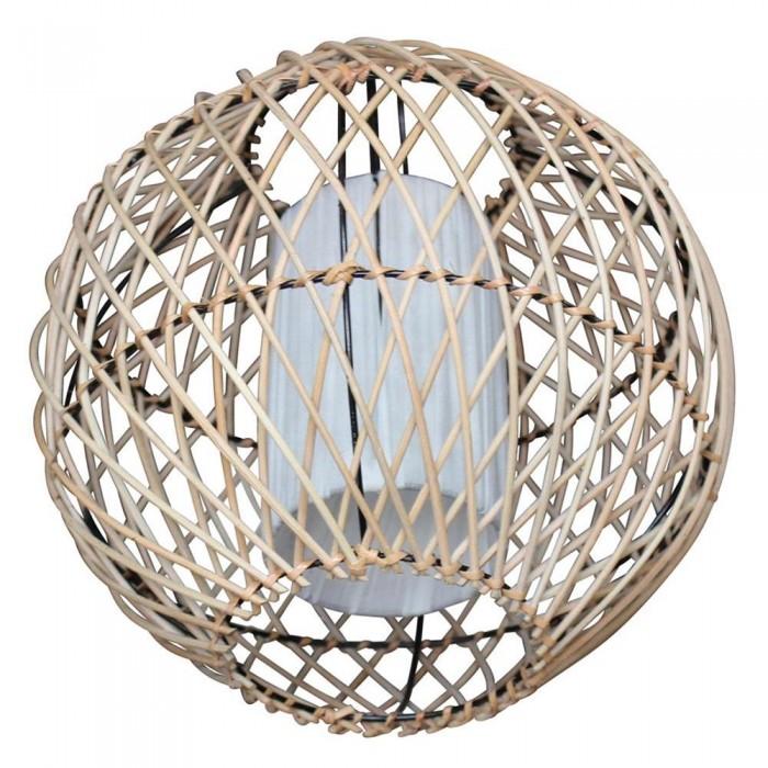 lustre ethnique rond fils de bambou et tissu blanc 30x30x30 etnicart. Black Bedroom Furniture Sets. Home Design Ideas