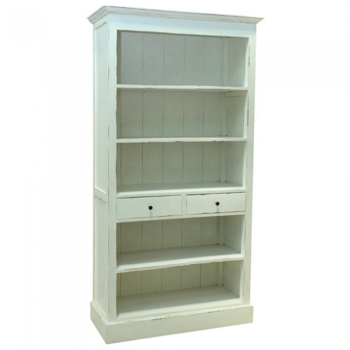 Bibliotheque Provencales Chic Minable Blanc 100x190x45 Etnicart