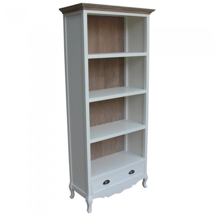 bibliotheque blanc avec tiroir provencale 83x184x37 etnicart. Black Bedroom Furniture Sets. Home Design Ideas