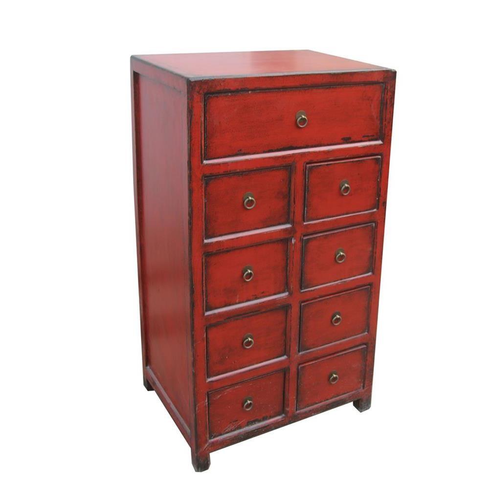 Cassettiera laccata rossa cinese con 8 cassetti 58x110x38 codice ma 3058 etnicart - Mobili indonesiani ...