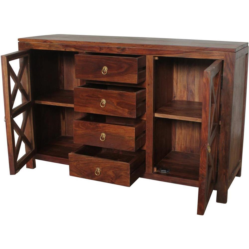 Credenza indiana legno massello con cassetti 118x75x38 ...
