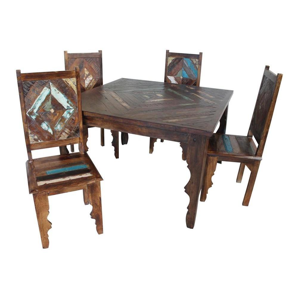 Tavolo etnico indiano con quattro sedie 107x77x107 codice for Arredamento indiano on line