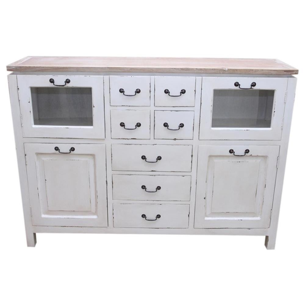 Credenza alta shabby chic con top in teak 150x108x37 - Mobili bianchi shabby ...