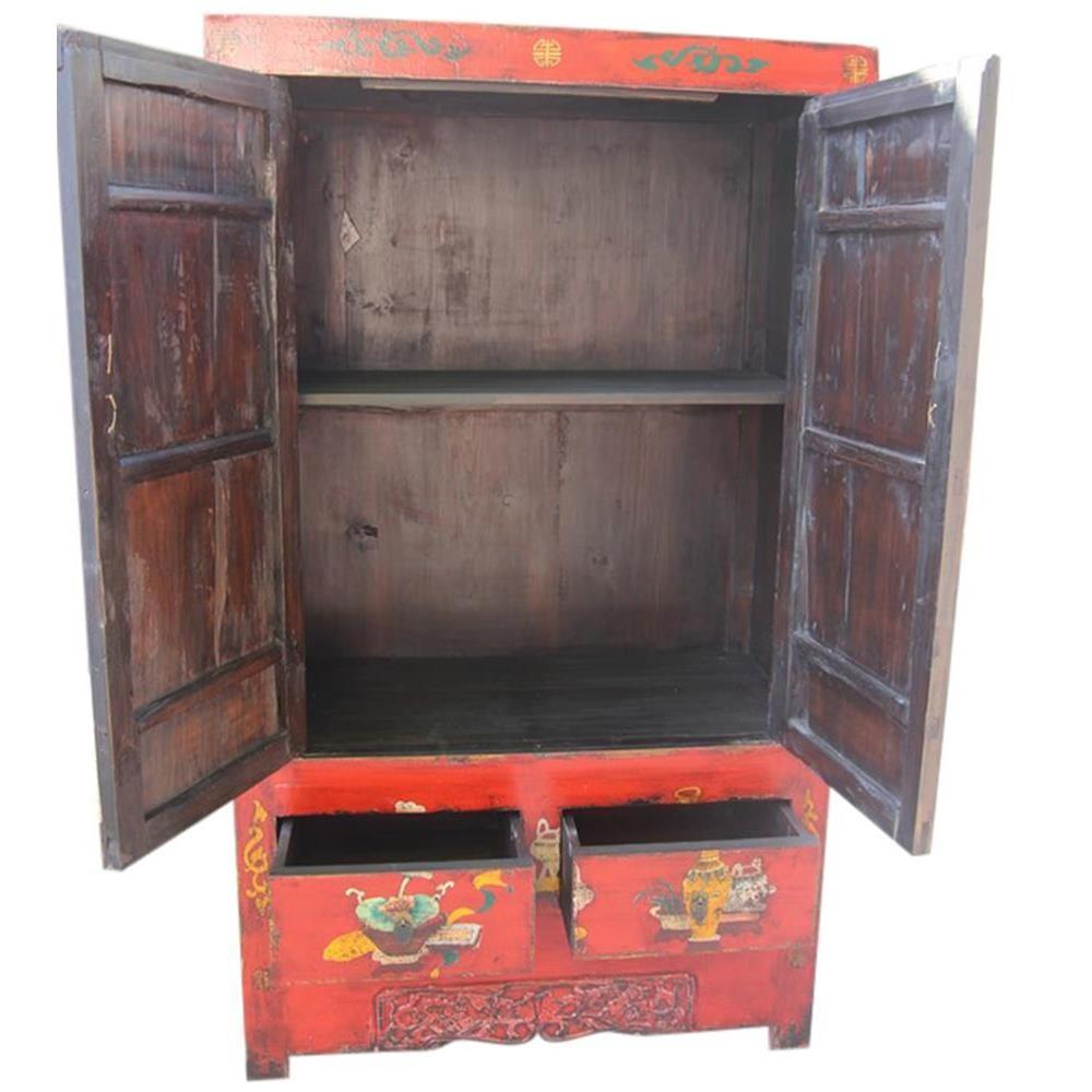 Armadio cinese laccato rosso con decori 105x182x50 codice ...