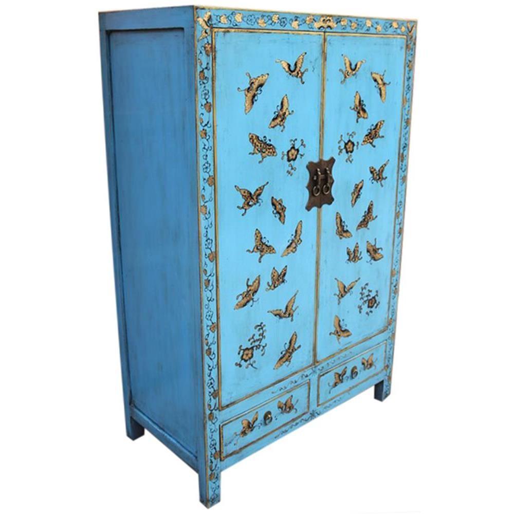 Mobile antico cinese laccato celeste con decori 85x135x45 for Mobile antico