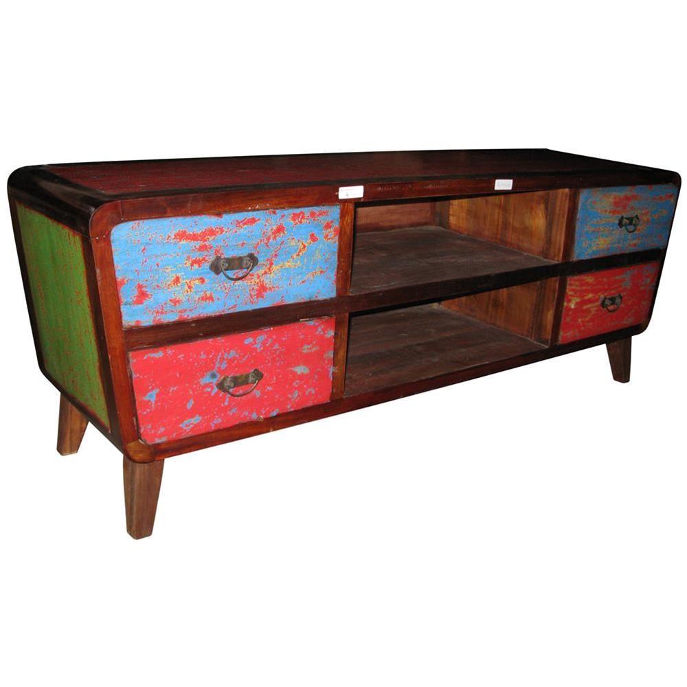 Mobile porta tv in legno di riciclo con cassetti colorati 150x55x40 codice ie16 recy04 etnicart - Mobili etnici colorati ...