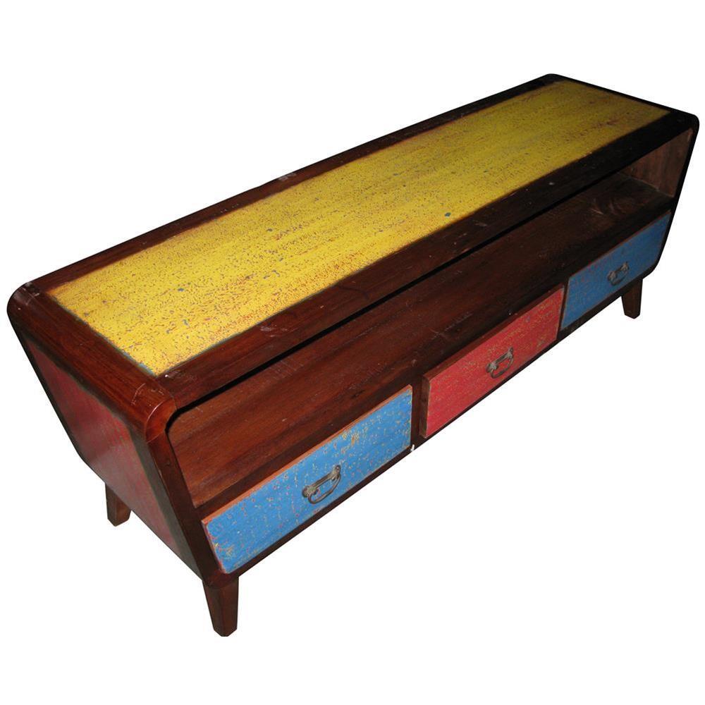 Mobile porta tv in legno di riciclo con tre cassetti colorati 150x55x40 codice ie16 recy05 - Mobili etnici colorati ...