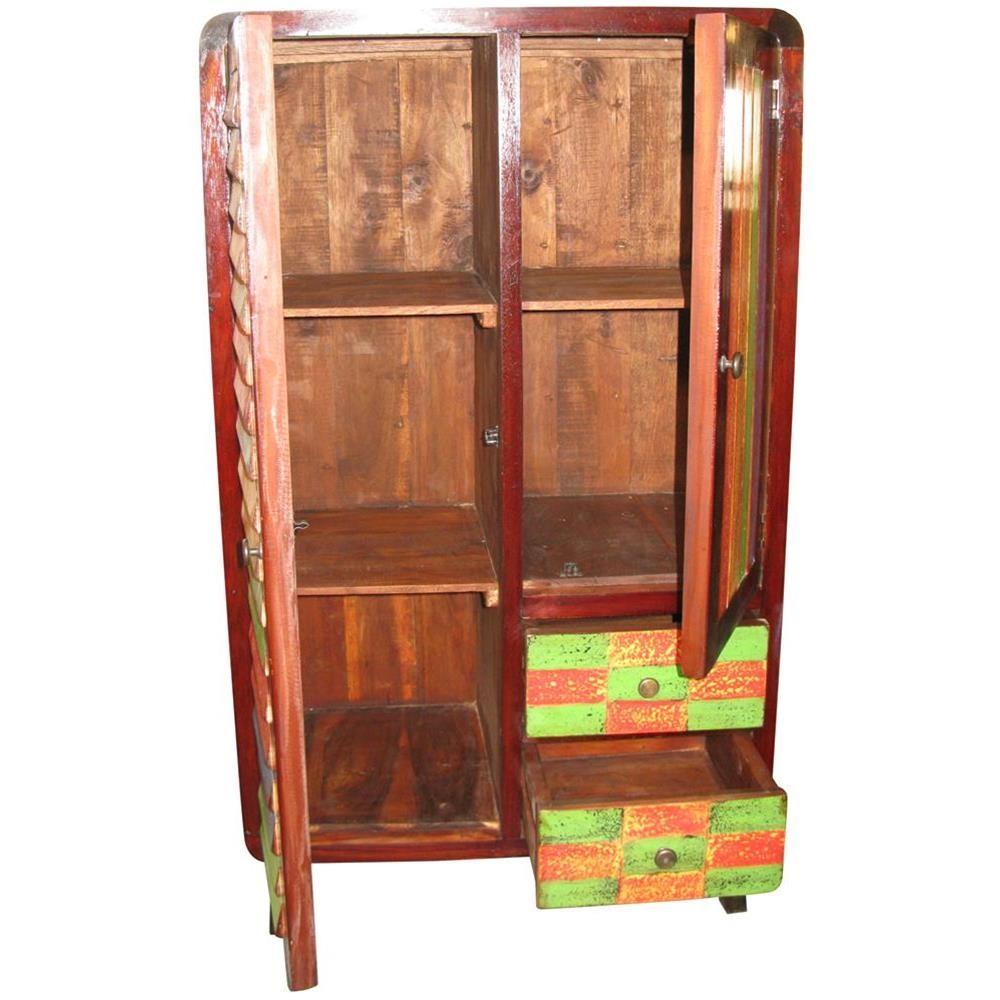 Mobiletto da bagno in legno di recupero con cassetti e sportello 120x70x40 codice ie16 recy23 - Mobili indonesiani ...