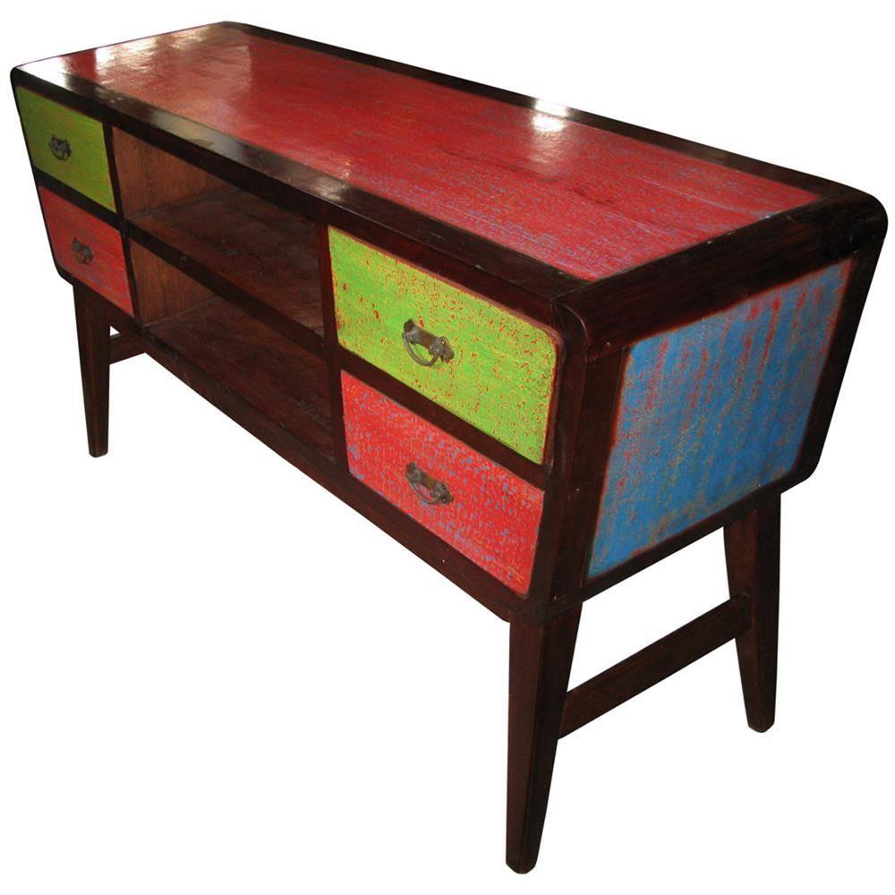Consolle in legno di recupero colorata 150x80x45 codice ie16 recy44 etnicart - Mobili indonesiani ...