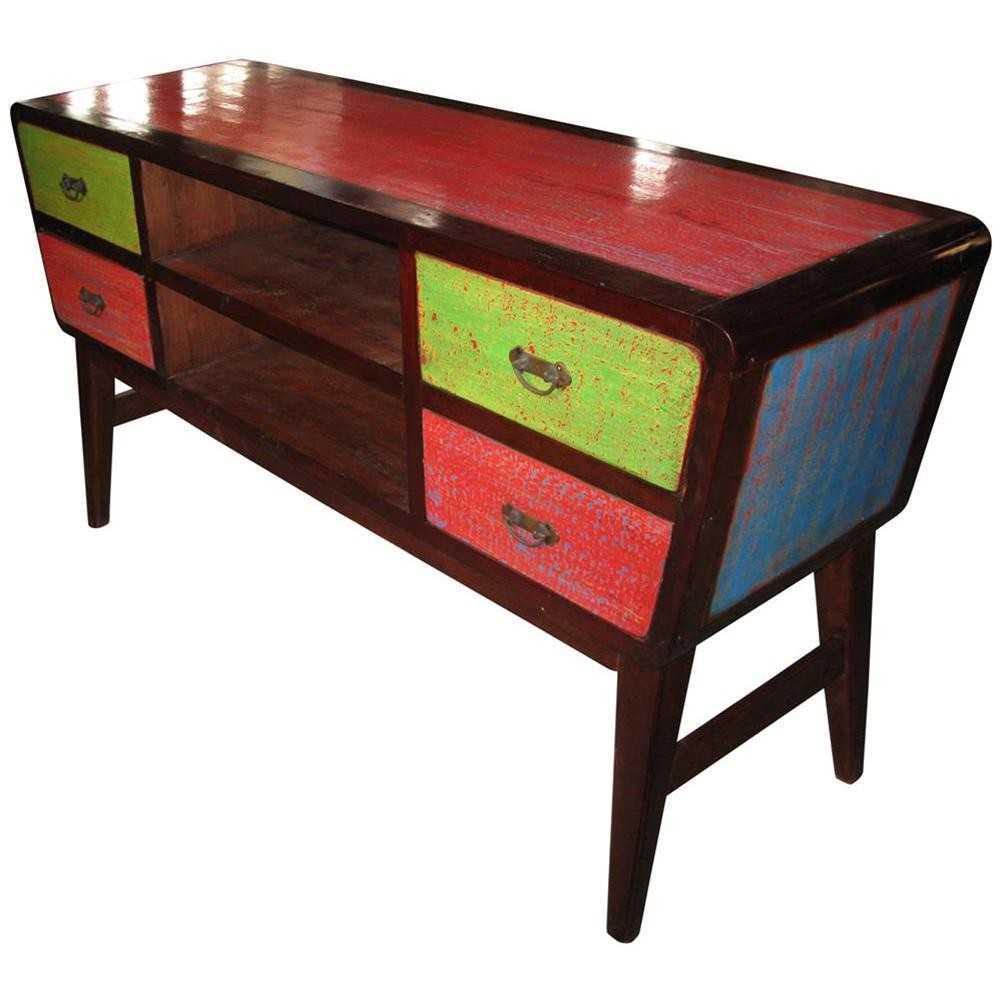 Consolle in legno di riciclo colorata 150x80x45 codice for Consolle colorata