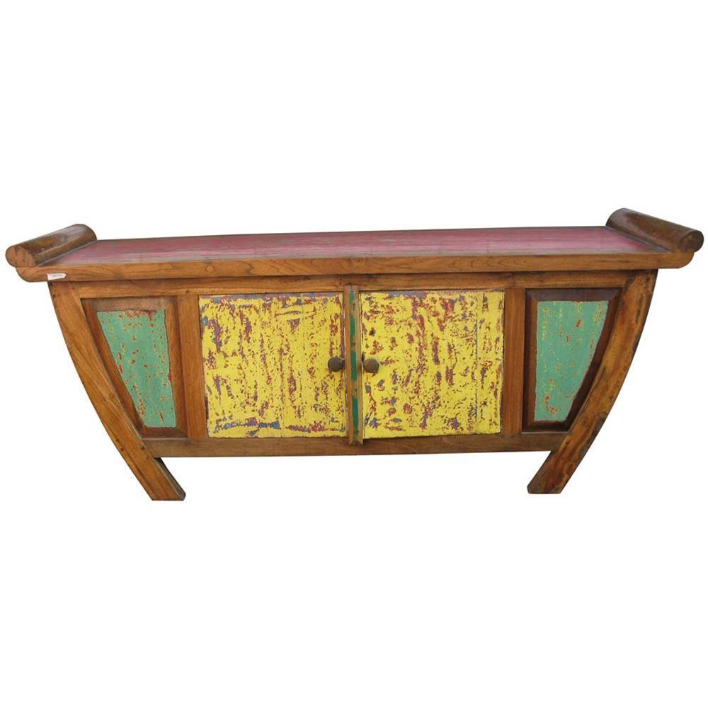 Mobile basso etnico colorato in legno di recupero - Pomelli colorati per mobili ...