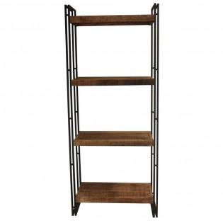 Libreria vintage in legno e ferro a giorno 75x183x38 for Libreria in ferro