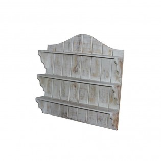Piattaia in legno da parete bianca 59x59x12 codice IE17-SEN4 | Etnicart