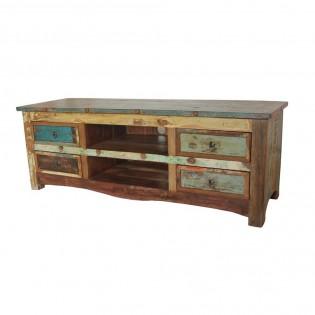 Portatv in legno di recupero con cassetti