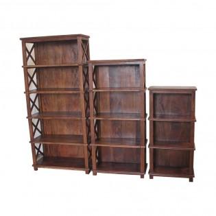 Set di 3 librerie in legno massello