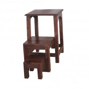 Sgabello a scala in legno massello
