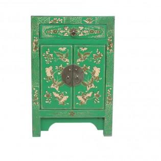 Comodino cinese con dipinti verde