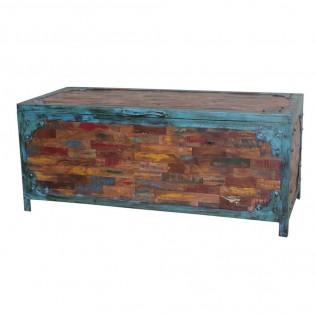 Cassapanca colorata etnica in legno e ferro