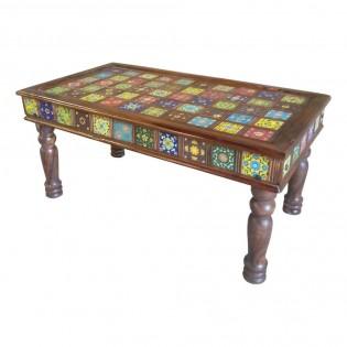 Tavolo indiano in legno con decorazioni ceramica