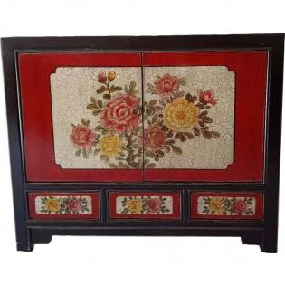 Credenza mongola con dipinti rossa con 3 cassetti
