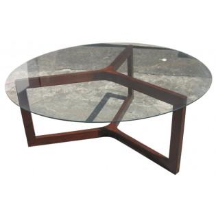 tavolino basso con ripiano in vetro