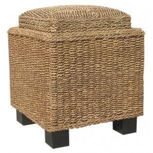 tavolino-sgabello con vassoio in seagrass