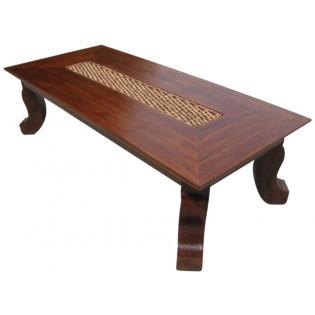 tavolo basso con inserti in giacinto d'acqua
