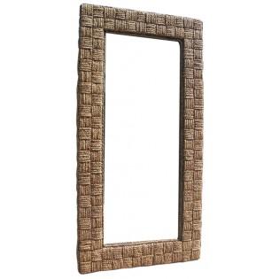 specchio in giacinto d'acqua con lavorazione a quadrati