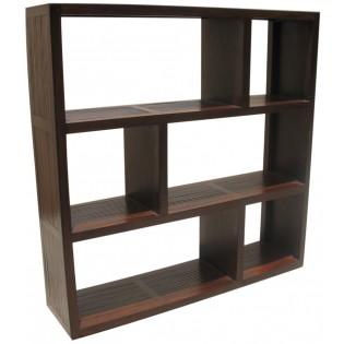 libreria a giorno in teak e bamboo 3 ripiani