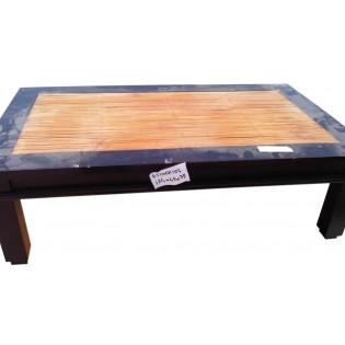 Tavolo basso in mogano e bamboo
