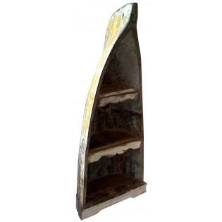 Libreria a barca con legno di recupero