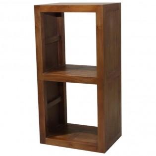 Modulo due cubi in mogano e bamboo chiaro