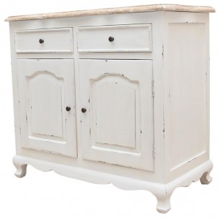 Credenza shabby chic con top in teak 100x90x50 codice axsh for Mobili shabby chic