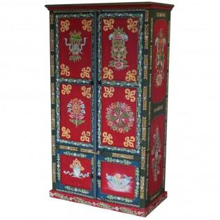 Armadio etnico dipinto base rosso 98x175x50 codice JACW-45 ...