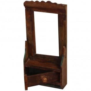 Piccolo specchio etnico da parete in legno con cassetto for Specchio da parete piccolo