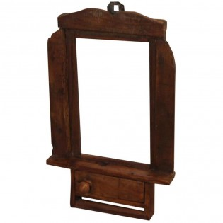 piccolo specchio etnico da parete con cassettino 29x42x6