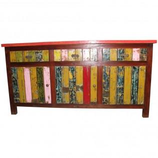 Credenza etnica colorata in legno di recupero 3 cassetti