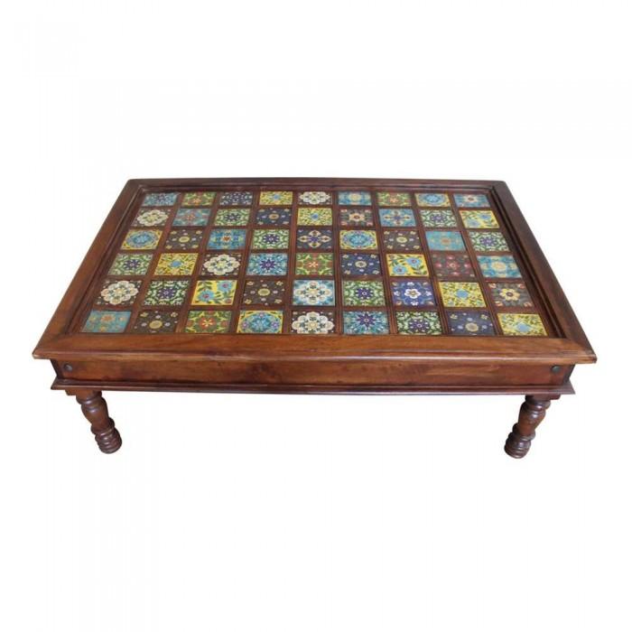 Tavolo basso etnico indiano con ceramica 120x40x80 codice for Arredamento indiano on line