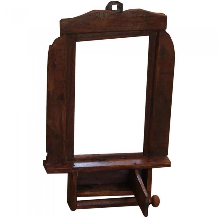 Piccolo specchio etnico da parete con cassettino 29x42x6 for Specchio da parete piccolo