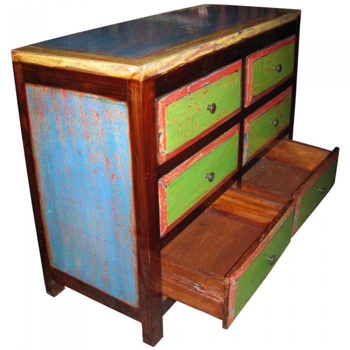 Cassettiera in legno di riciclo con sei cassetti 100x76x40 codice ie16 recy09 etnicart - Mobili indonesiani ...