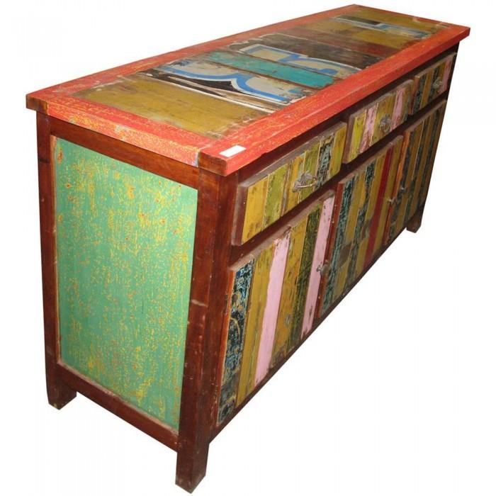 Credenza etnica colorata in legno di recupero 3 cassetti for Credenza colorata