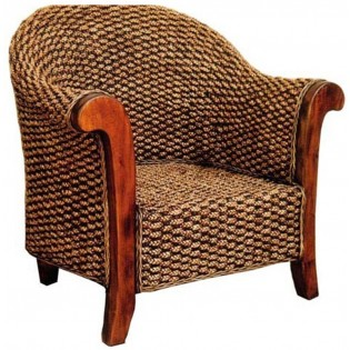 silla en caoba y jacinto de agua