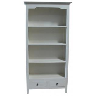 librero blanco con cajones en caoba