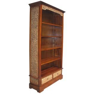 librero en caoba y jacinto de agua