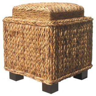 Taburete de mesa auxiliar con bandeja en abaca