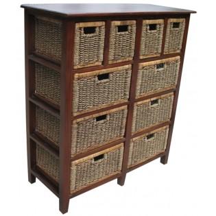 mueble de 10 cajones en caoba y seagrass
