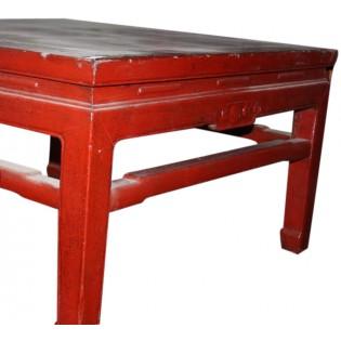 Mesa de centro baja antigua de madera de olmo