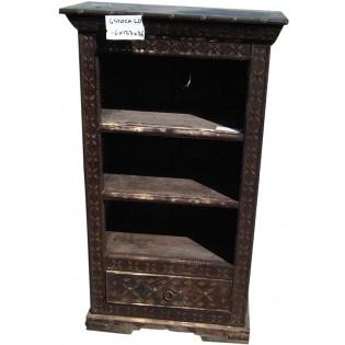 Librero indio en madera y laton